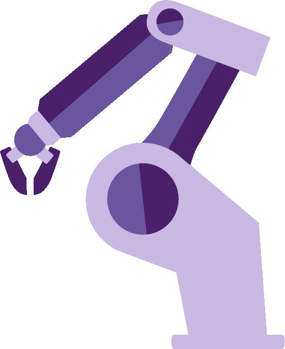 Illustration av en robotarm. Östrand & Hansen är rekommenderad systemintegratör i Robotlyftet.